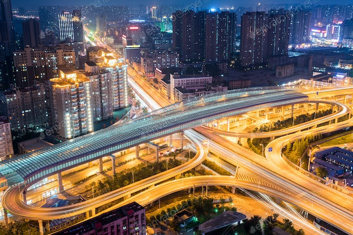 futuristic city interchange at night