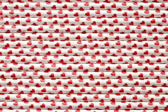 Hearts on paper straws.