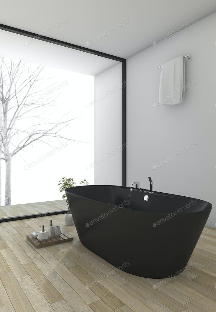 3d rendering minimal wood floor bathroom near window in winter