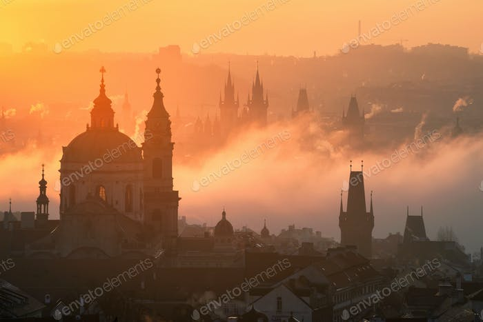 Prague foggy sunrise, Czech republic