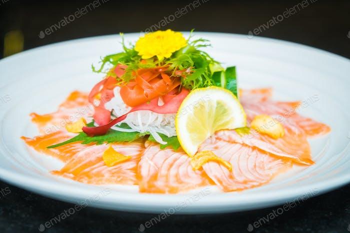 Carpaccio salmon in white plate