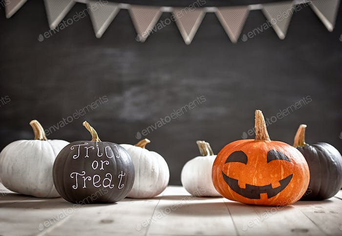 Pumpkins on white table