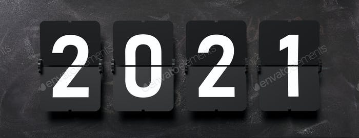 New year 2021. White digits from split flap Airport letters on black background, banner.