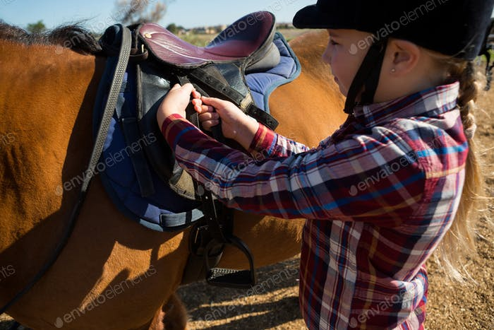 Close-up of girl adjusting saddle on horse