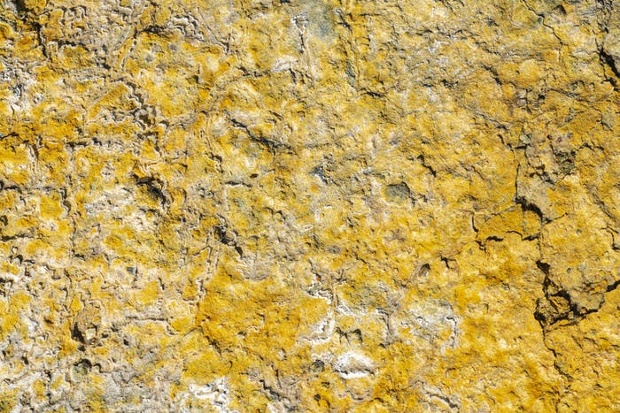Yellow Sulfur in Crater of Active Volcano. Natural Geological Texture, Volcanic Sulphur Background
