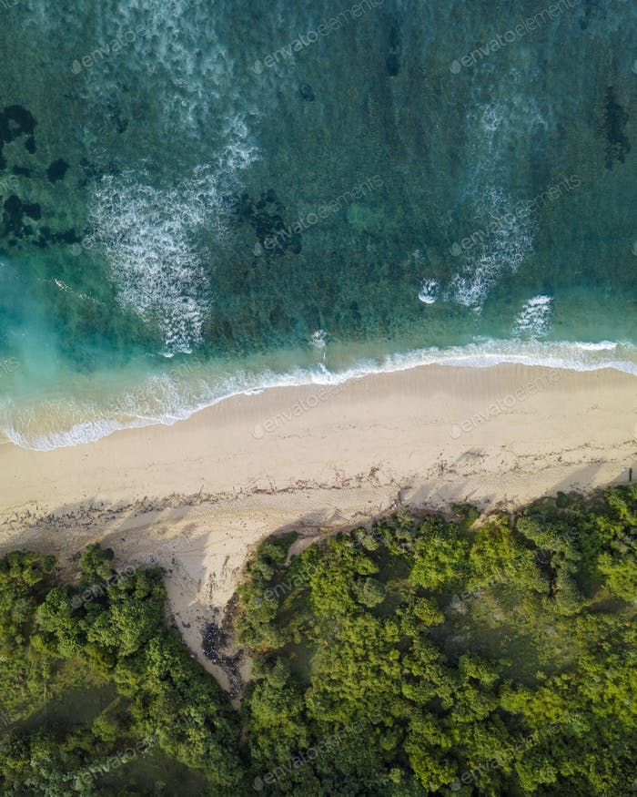 Aerial view of tropical beach, Bali, Indonesia