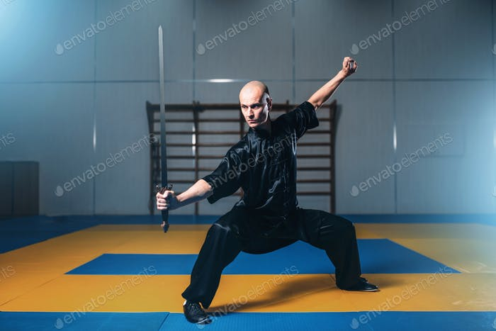 Wushu fighter with sword in action, martial arts