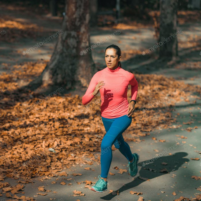 Woman Jogging in Nature, Outdoors