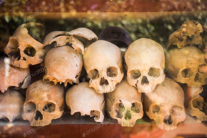 Thumbnail for Pile of human skulls on a wat thmei at Siem Reap, Cambodia