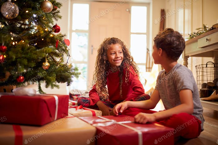 Excited Children Opening Presents By Tree On Christmas Morning