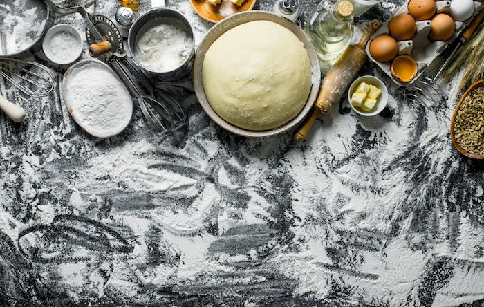 Dough background. Ingredients for dough preparation.