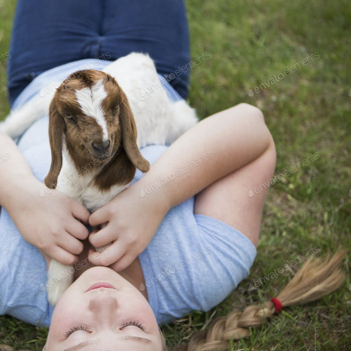 A girl cuddling a baby goat lying on her chest.