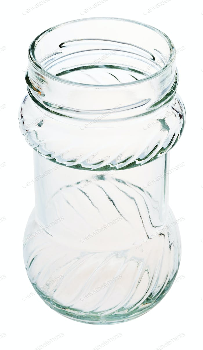 open decorated glass jar isolated on white photo by vvoennyy