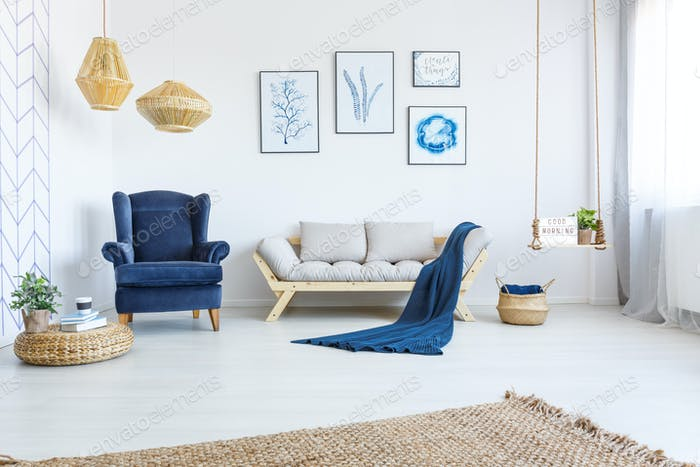 White home interior with sofa