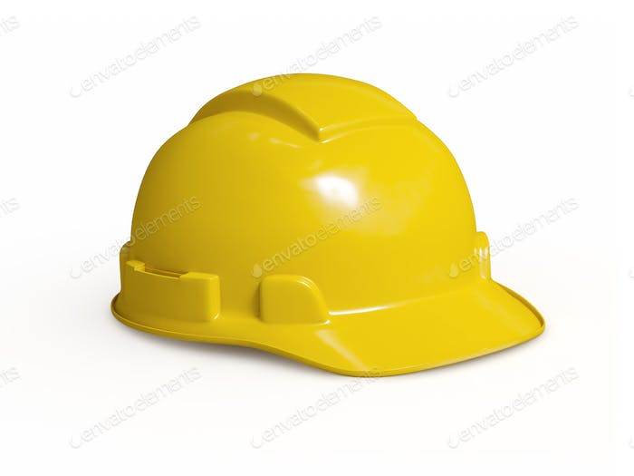 Yellow hard hat of construction worker isolated