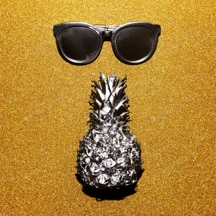 Silver set vacation. Sunglasses and pineapple, beach fashion sty
