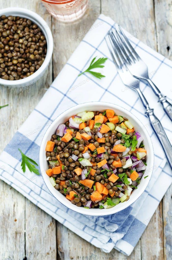 green lentils carrots celery salad