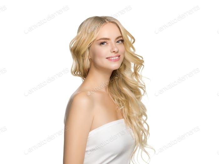 Blonde Hair Woman Beautiful Curly Hairstyle Wavy Long hair
