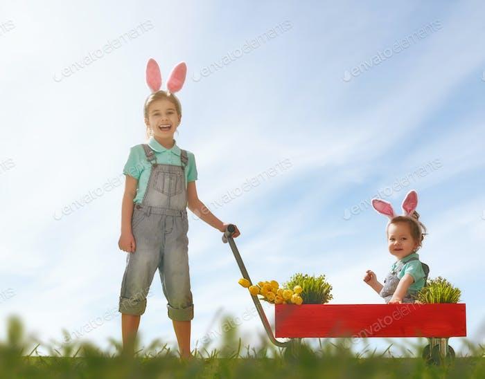 children wear bunny ears
