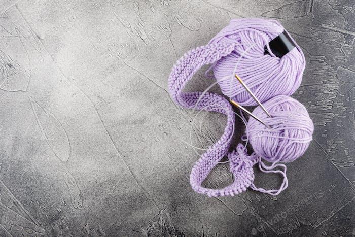 Knitting wool and knitting needles, knitting equipment