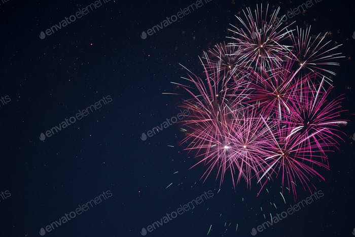 Amazing maroon red pink celebration fireworks
