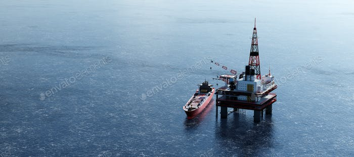 Oil platform on the ocean. Offshore drilling for gas and petroleum