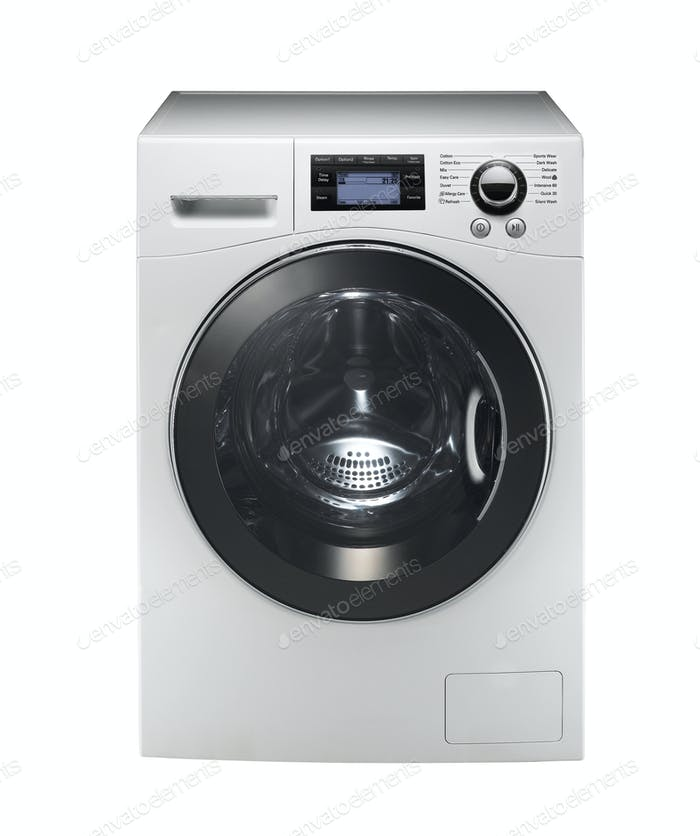 white washing machine isolated on white background