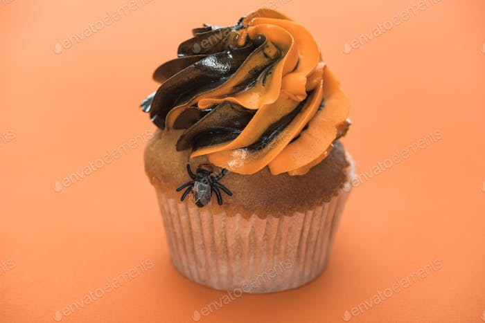 Scary Halloween Cupcake With Fly on Orange Background