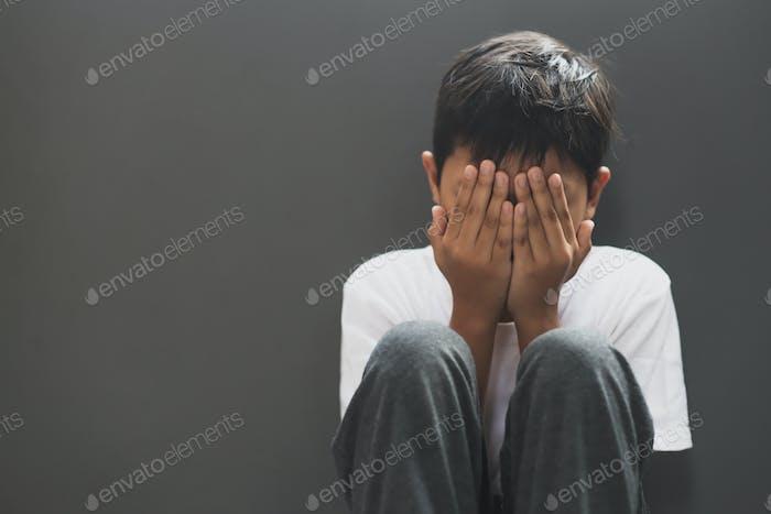 Boy sad and crying