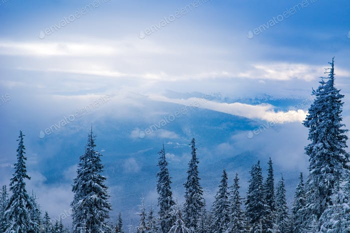 Breathtaking landscape with high mountains on hill