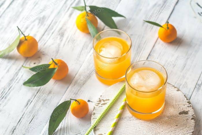 Two glasses of orange juice