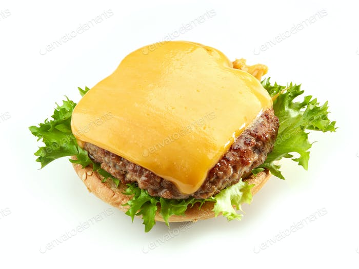 burger bread with meat and cheese