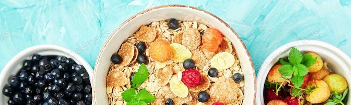 Banner mit Gesundes vegetarisches Frühstück. Haferflocken, Müsli mit Himbeeren