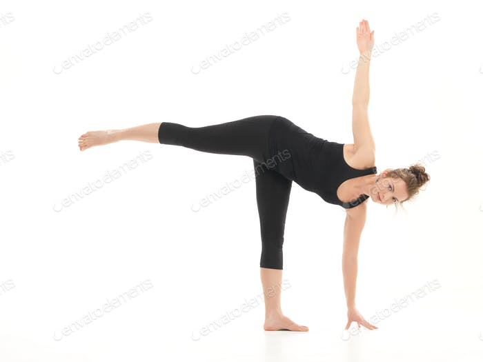 young attractive woman in yoga pose