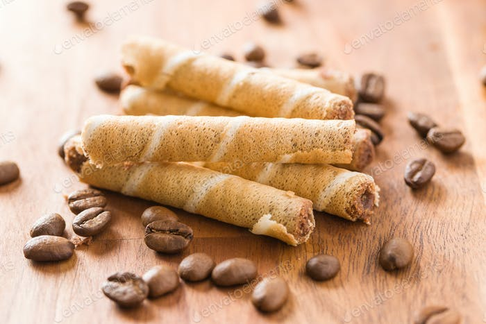 Sweet chocolate waffle rolls.