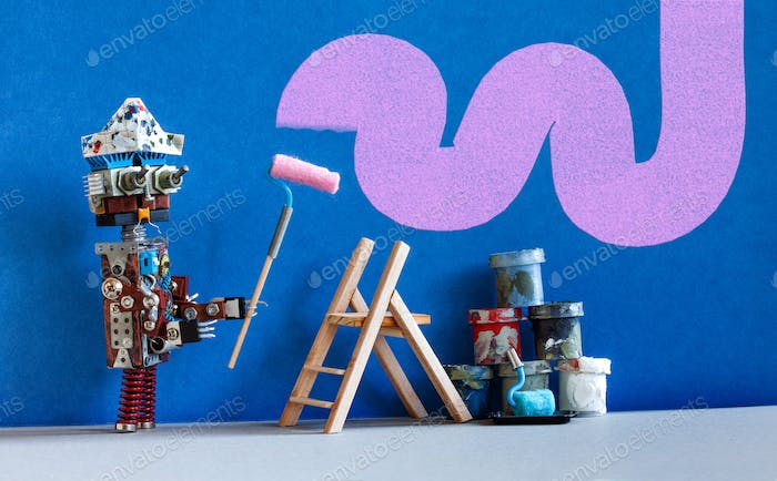 Decorator robot repaints the wall of the room in purple color.
