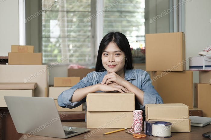 Businesswoman entrepreneur sell online. Online business seller and delivery
