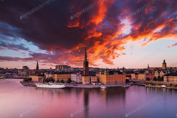 Scenic panoramic view of Gamla Stan, Stockholm at sunset, capital of Sweden