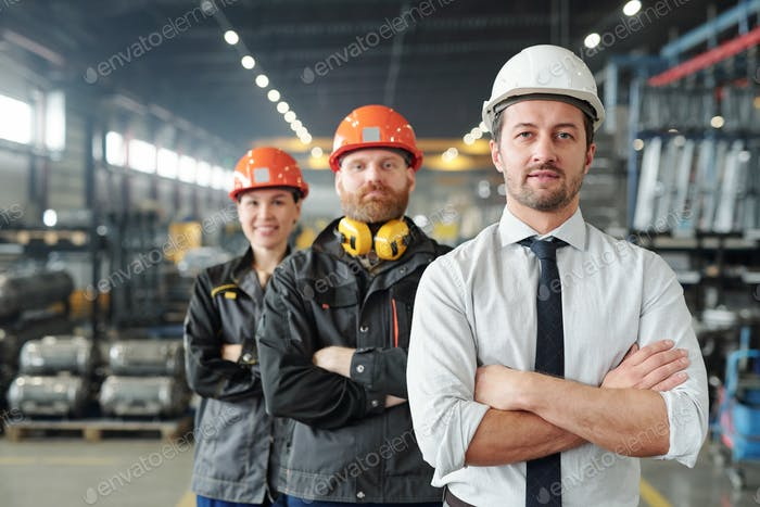 Leaders of manufacturing production plant