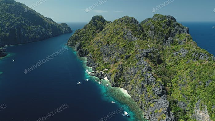 Relax seascape with water transport of El Nido Islets, Palawan, Philippines, Asia. Philippines Hill