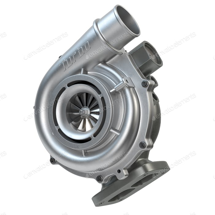 Car turbocharger isolated on white. Turbo engine and power concept.