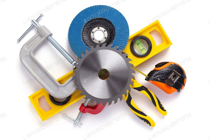 set of construction tools isolated at white