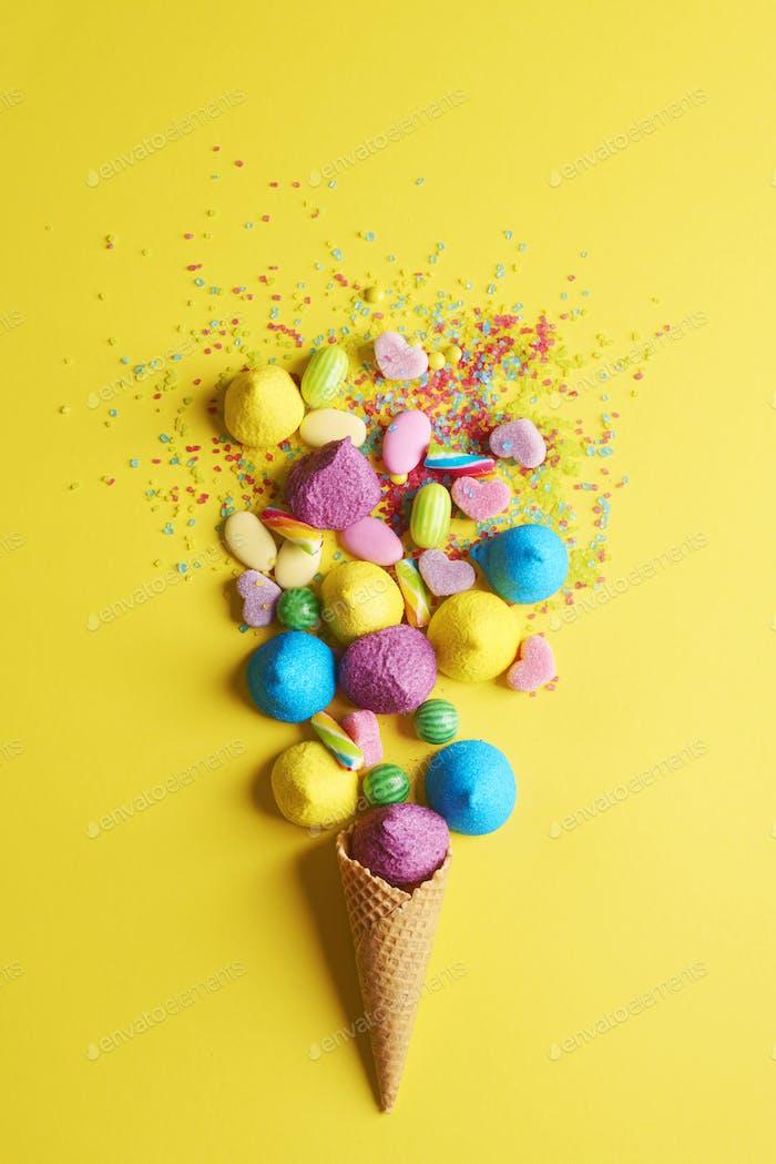 Multi color arrangement of candies