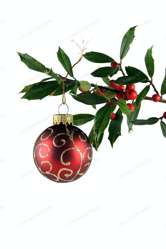 Holly and Red Ornament