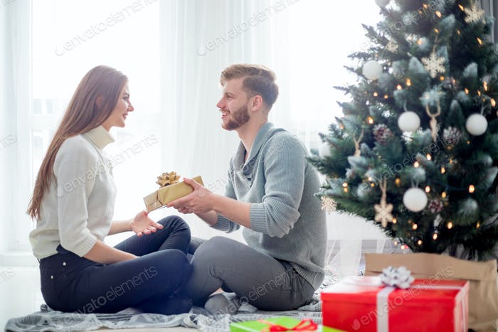 Happy couple in love celebrating Christmas together at home next to Xmas tree