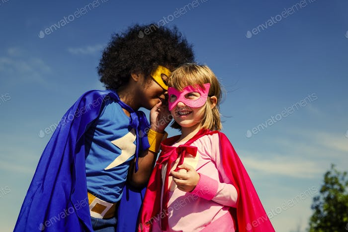 Two little superheroes