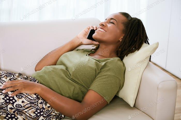Woman enjoying phone call