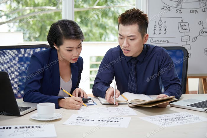 Business analysts working in team