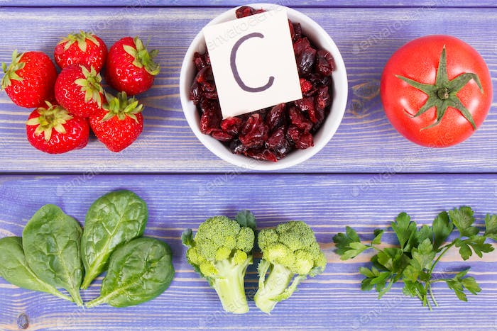 Fruits and vegetables containing vitamin C and natural minerals, concept of strengthening immunity