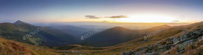 Majestic sunrise in the mountains landscape. Carpathian, Ukraine